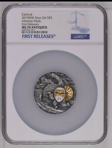 Niue 2019 Venetian Mask 2 oz Antique finish Silver Coin 5$ NGC MS70