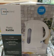 Mainstays 1.7-Liter Plastic Electric Kettle, White opened box