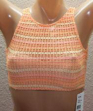 *NEW VOLCOM Orange Sparkler High Neck Bikini Top Junior S Small #V82