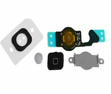 For iPhone 5C Black Home Button - Plus Rubber Seal + Metal Bracket Menu Flex