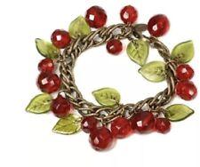 Sweet Romance Retro Crystal Cherries With Green Glass Leaves Charm Bracelet