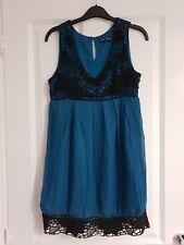 LITTLE MISTRESS TEAL GREEN STUNNING BLACK CROCHET TRIM V-NECK TUNIC SHIFT DRESS