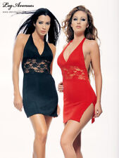 Leg Avenue Slinky Halter Dress With Lace Inset 8478 Black