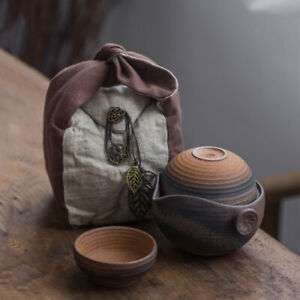 170ml 5.75oz Ceramic Travel Gongfu Tea Set Teapot & Two Teacups In Cotton Bag