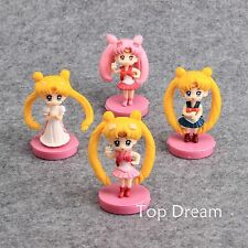 4X Anime Sailor Moon PVC Action Figure with Base Doll Toy Girls Xmas Gift 7cm