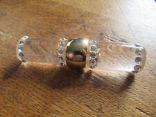 Gorgeous Vintage Art Deco Style Lucite and inset rhinestone large bar brooch.