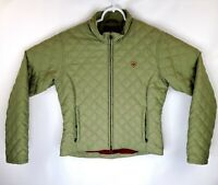 Ariat Womens Petites Small Green Embroidered Full Zip Quilted Mock Neck Jacket