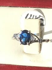 14kt Solid White Gold Ring  With Two Diamond And Blue Stone  2 grams gold