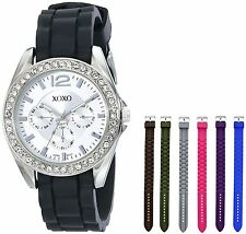 XOXO Women's XO9028 Watch with Seven Interchangeable Silicone Rubber Straps-5 pc