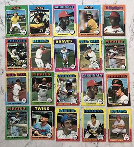 1975 Topps Baseball (Lot of 20) Fingers, Jackson, Rose & More- All VG/NM