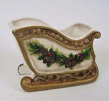 Vtg Christmas Sleigh Planter NapcoWare Cream Gold Trim Pine Bows Berries Decor