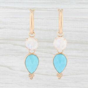 New Nina Nguyen Hoop Earrings 18k Yellow Gold Turquoise Moonstone Diamond Charms