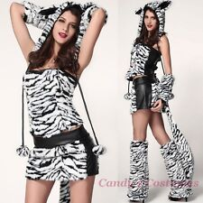 White TIGER Costume FUR Skirt HOOD Top GATORS Boot Tops GLOVES Ears TAIL 8 10 12