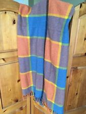 "Vintage Plaid Wool Orange Blue Throw Blanket Fringe 63"" x 65"""