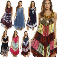 Women Sundress Summer Hippie Boho One Size Fits All Handmade Blouse Tunic Dress