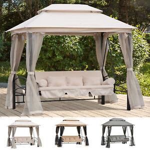 3-Sitzer Hollywoodschaukel Gartenschaukel Pavillon Seitenwände Liegefunktion