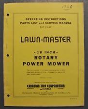"""Orig 1960 OMC Lawn Master 18"""" Lawn Mower Owner's Manual Model T1087 P/N 403052-0"""
