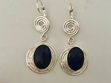 Silver Turkish Ottoman Blue Jade Stone Disc Circle Gemstone Swirl Drop Earrings