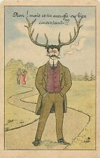 Surrealism artist signed vintage postcard France man with horns caricature cigar