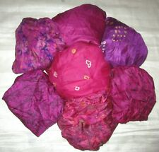 LOT PURE SILK Vintage Sari REMNANT Fabric 7 Pcs 1 ft Magenta #ABDC9