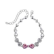 Sparkly Shiny Swarovski Element Crystal Silver Purple Bow Heart Bracelet Bangle