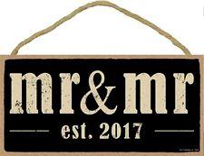 Novelty-Fun Wood Sign-Plaque--MR. & MR. est. 2017