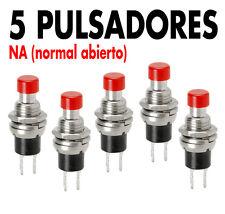 5 x Pulsador Rojo 2 pins para panel, NO (normalmente abierto), SPST. NEW !