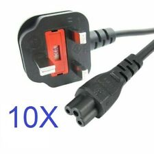 10 X 3 Pin Leaf Power Cord Powercord UK Cable Plug Laptop Charger Adapter LOT