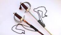 Huge Unusual Vintage Antique Pair Fencing Dueling Swords Handmade for Decor