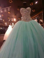 Beaded Stone Quinceanera Prom Dress Mint Party Pageant Ball Gown Wedding Dress