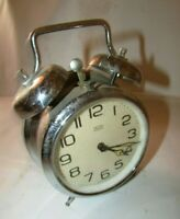 Vintage Alarm Clock *MOM* Double Bell Wind Up Alarm Clock made in Hungary. #121