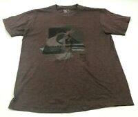 Quicksilver Shirt Men's Size Large L Brown Black Short Sleeve Graphic Tee Adult