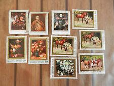 Lot de 10 timbres étrangers - portraits d'artistes - tableaux