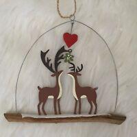 Reindeer Kissing Under the Mistletoe Hanigng Christmas Decoration First Couple