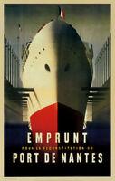 VINTAGE TRAVEL ART PRINT Port de Nantes by Jacques Nathan-Garamond 24x38 Poster
