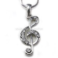 Treble Clef Music Note Pendant Necklace Silver Tone Clear Rhinestones Ladies NEW