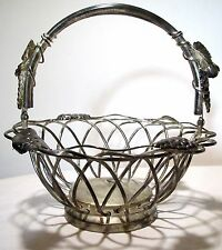 Vintage Godinger Silver Art Co. Silverplated Basket Scalloped Wire Handle Grapes