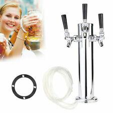 Stainless Steel Triple Tap Faucet Draft Beer Tower Bar Homebrew Fits Kegerator