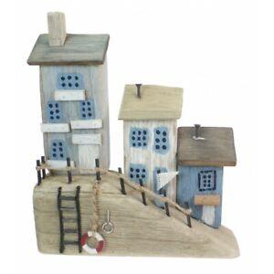 Wooden harbour cottages coastal art ornament Driftwood cottage house Nautical