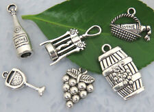 6 WINE Theme Charm Collection #1, Set Lot Assorted Tibetan Silver, US Seller