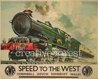 SPEED TO THE WEST 1939 Vintage Train Poster Rolled CANVAS PRINT 29x24 in.