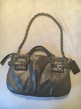 "COACH Gunmetal Gray Dusted Suede ""BROOKE"" Chain Handbag EUC"