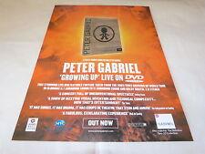 PETER GABRIEL - Publicité de magazine / Advert GROWING UP LIVE !!!