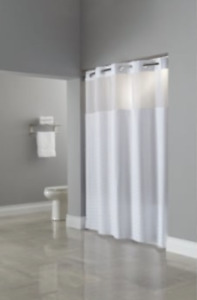 "Hookless Shower Curtain 71"" x 74"" With Sheer Window Madison White"