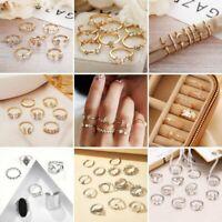 7/9 Pcs Boho Retro Moon Butterfly Finger Ring Knuckle Set Women Party Jewelry