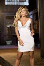 Espiral White Stretch Mini Party Dress Size L 12 - 14 #cb3