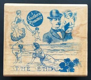 RARE Southern Romance Movie Picture Love Story Man Woman Cupid Angel Wood Stamp
