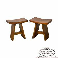 Quality Pair of Hardwood Saddle Seat Benches