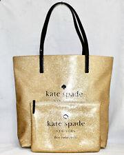 KATE SPADE Holiday Drive Gold Glitter Tote WKRU2841 & Gia Zip Pouch WLRU2020