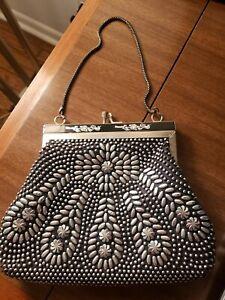 Vintage Black Silver beaded Purse Golden Name Evening Bag 50s 60s Hong Kong